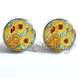 Jewelry - NEW Round Yellow Sunflower Painting Earrings
